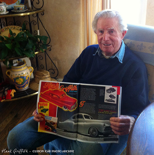 Hank Griffith June, 2013 with Gasoline magazine feature on his 1942 Ford Custom.