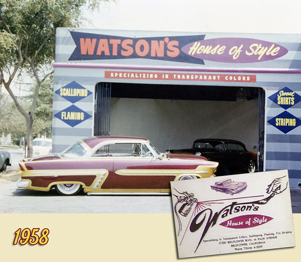 There are not many photos of this 17200 Bellflower Blvd. shop in Bellflower. The first time we see the shades of gray lines as base, and the bow tie shaped Watson logo. Ray More's 1952 Ford is looking fantastic. (For Larry this Ford was alway the Ray More Ford, even though Pete Angress had bought it from Ray a year or so before this photo was taken.)