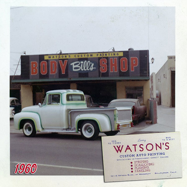Here is a photo of the Bill DeCarr (Ortega) body shop on 10116 Artesia Blvdin Bellflower. Bill had bought the shop from Ed Schelhaas in 1959 and he rented out some space (including the paint booth) to his best friend Larry.Together they created some magic in this shop. The Ford Pick up in front of the shop is Johnny Zupan's 1956 Ford F-100. The shades of gray lines in the background came back in this shop as well...despite this being Bill's shop.