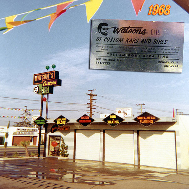 In the later part of the 1960's Larry moved to the 8730 Firestone Blvd shop in Downey. The sign on the pole is one of Larry's Best signs. It's so perfectly styled, and fits the design trends of the time perfectly. The sign could be seen from far away driving up and down Firestone Blvd. The horizontal gray lines are back on the building, but the bow tie shaped logo is gone.