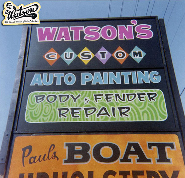 Last photo is a standard road side sign shared with others. Paul Stratton owned Paul's Upholstery. This sign was at the 14903 Lakewood Blvd. (thanks to Rich for the info)