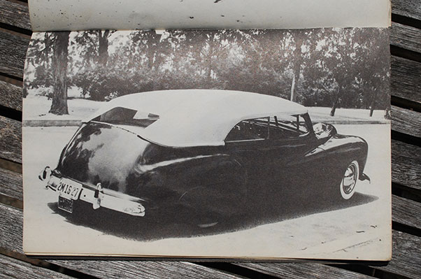 This is the 1951 edition of the Dan Post Blue Book of Custom Restyling. There is a lot more background around the car than it shows with the crop marks on the photo proof.