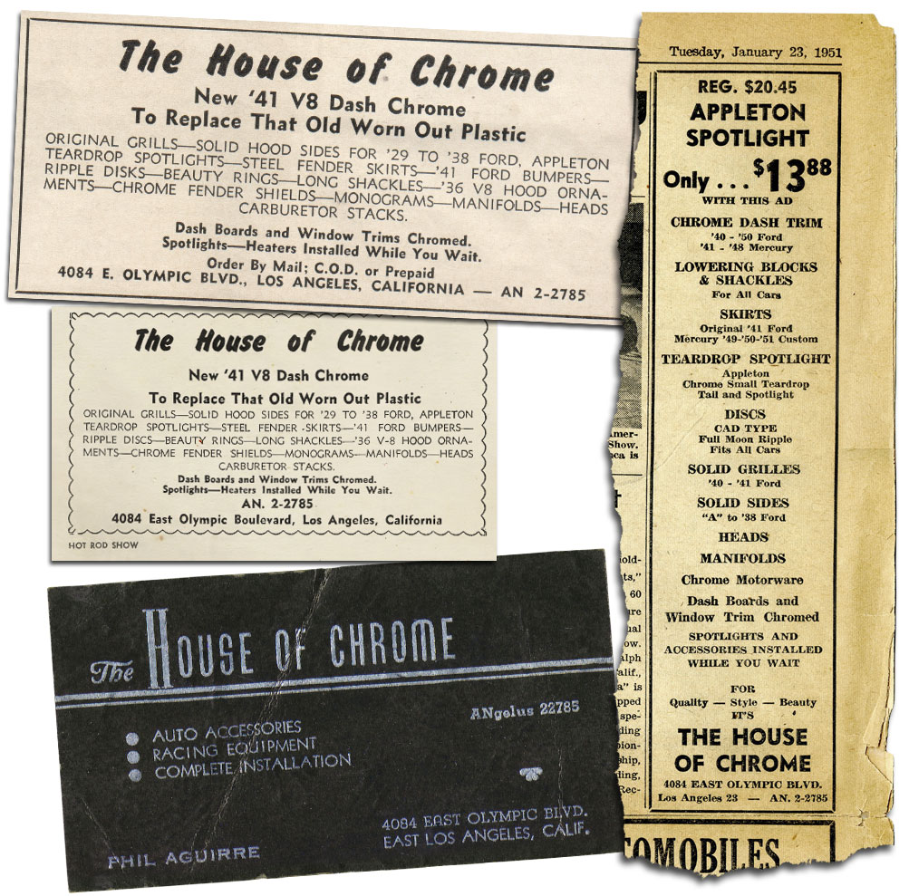 House of Chrome ads business card