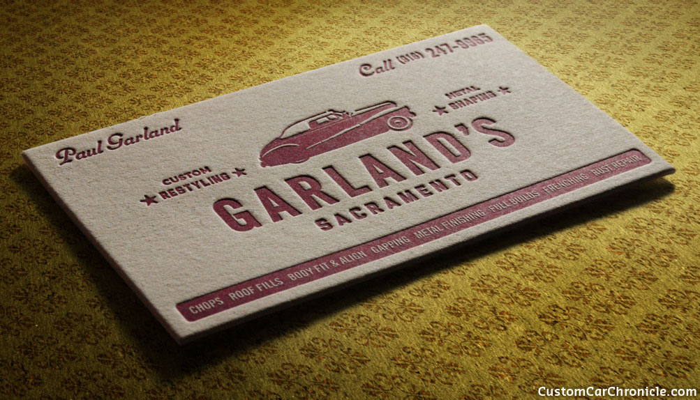 Garlands business card custom car chroniclecustom car chronicle paul garland has been doing some amazing period custom car and hot rod work for some time recently he created some fine t shirts and this wonderful colourmoves