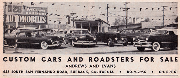 CCC-andrews-evans-car-lot-ad-1952