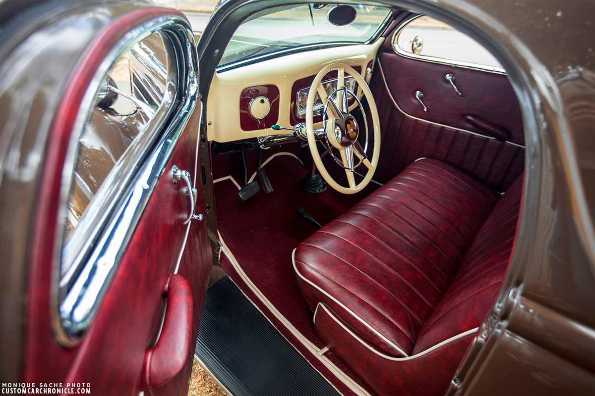 Brian Holden 1936 Ford Custom Car Chroniclecustom Chronicle 1941 Coupe Red The Interior Of Brians Looks Very Classic With All Cream Colored Made Dash Crestliner Steering Wheel And Beautiful