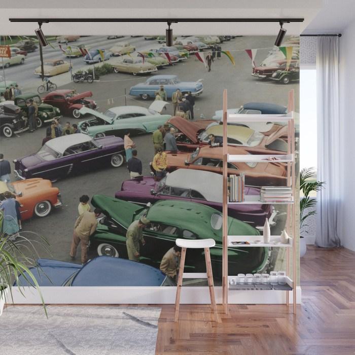 1954-parking-lot-custom-car-show-wall-wall-murals