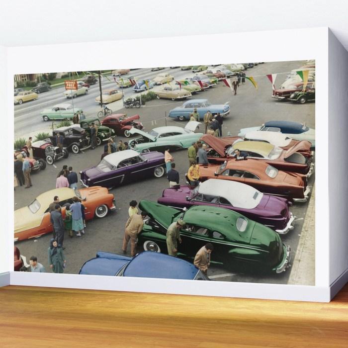 02-1954-parking-lot-custom-car-show-wall-wall-murals